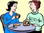 2 women sharing a relaxed cup of tea