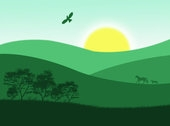 stress relief natural scene of green hills and rising sun